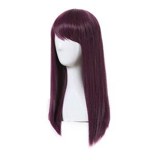 Image 2 - L email perruque de Cosplay synthétique de 50cm de Long, style nouveau film à caractère Mal, perruque de Cosplay violette résistante à la chaleur