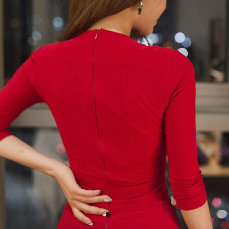Automne femmes à manches longues Bandage bureau partie Sexy robe moulante noir rouge Vintage robe vcou Vestido De Festa robes Vent - 5