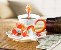 creative dragon Phoenix ceramic cup color enamel porcelain cup saucer spoon set coffee tea set gift