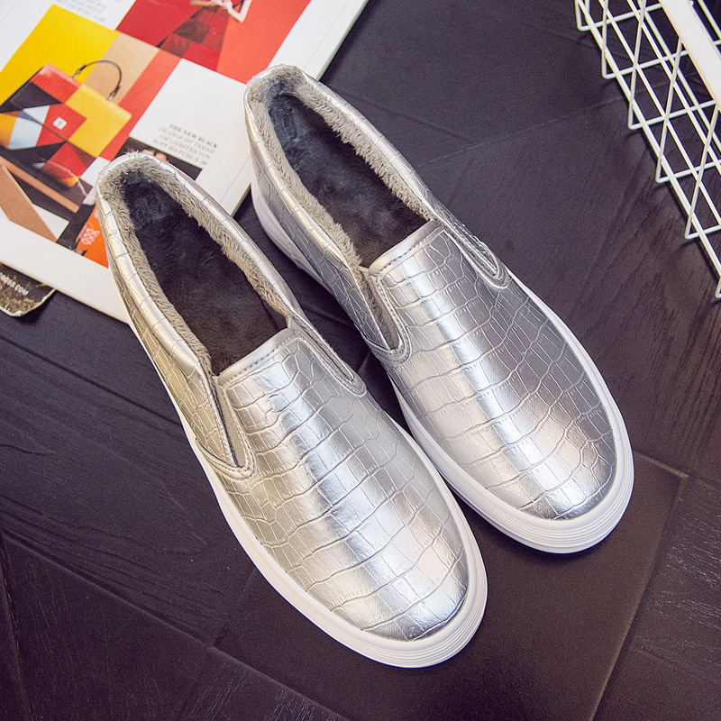 HEE GRAND Fur Warm Platform Shoes Woman Silver Glitter Creepers Slip On Fleeces  Casual Spring Women Flat Shoes Loafers XWD7028-in Women s Flats from Shoes  ... 098948f955d8