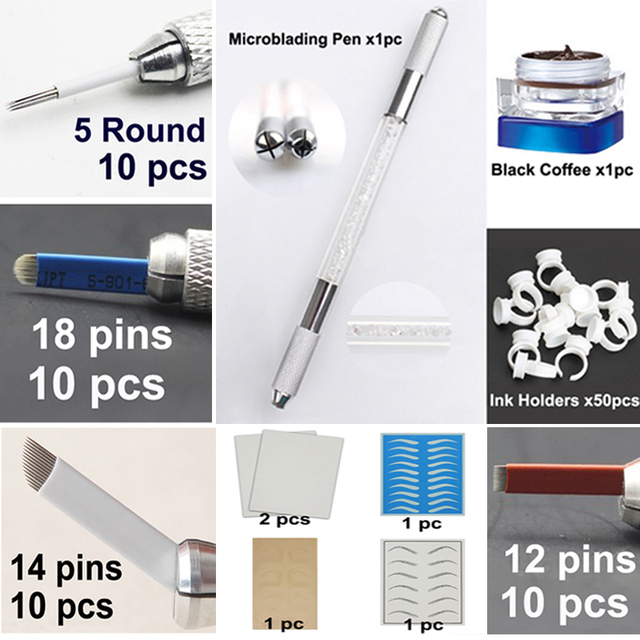 Microblading Pen KITS Manual Eyebrow Tattoo Paste Needle Blade Practice Skin Double Head Round Ink Holder For Learner Use Makeup