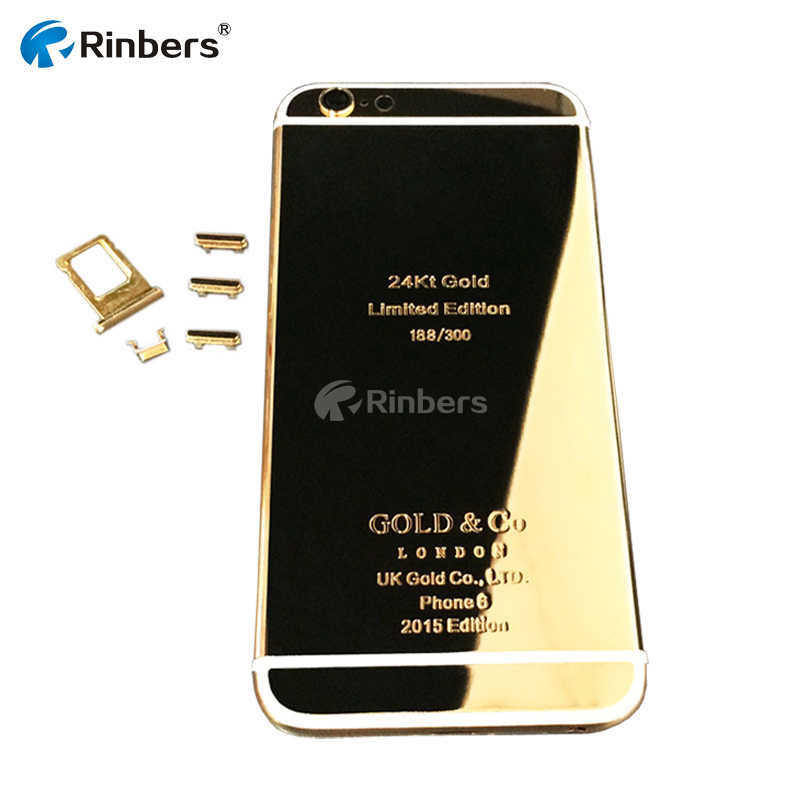 Plated 24k 24kt 24ct Mirror Gold Back Cover Housing Replacement Mid Frame Bezel For Iphone 6
