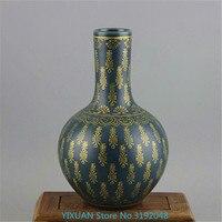 Qing Yong Zheng, malachite green glaze, gold Shou pattern, celestial sphere, and old antique porcelain.