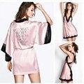 Nueva Rayon Encaje Sexy Inglés carta bordado Cordón de la raya tirantes minifalda robe Hermosa Tentación pijamas de Dos piezas