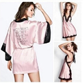 new Rayon Sexy Lace English letter embroidered stripe Lace suspenders miniskirt robe Beautiful Temptation Two-piece pajamas