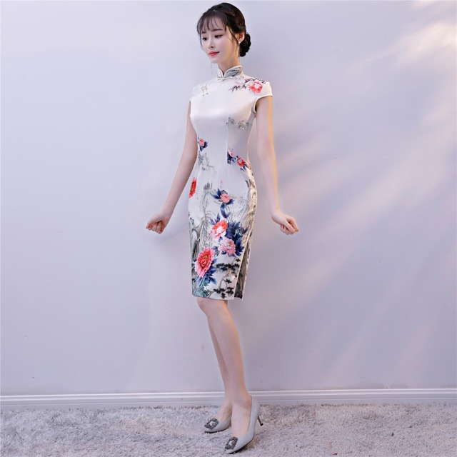 d02cac977 Shanghai Story Chinese Cheongsam Dress Knee Length Qipao Chinese  Traditional Clothing For Women Lace Oriental Style Dress