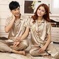 Casal de Moda Sleepwear Cetim De Seda do Pijama Set Pijama de Manga Curta conjunto de Pijama de Verão Conjunto Desgaste Doméstico Casual Para As Mulheres Ou homens