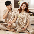 Couple Fashion Sleepwear Silk Satin Pajama Set Short Sleeve Pijama Set Summer Pyjama Set Casual Home Wear For Women Or Men