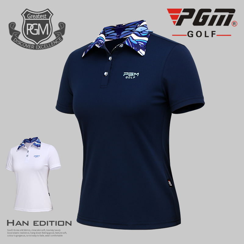 2017 new pgm golf shirts lady sports clothes summer top shirt women's golf t-shirt short-sleeve breathable shirt everio summer golf t shirt short sleeve polo shirt quick dry breathable golf wear 5colors