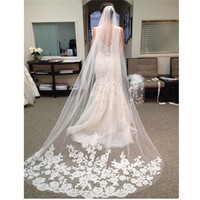 Bride Veils White Applique Tulle 3 Meters Veu De Noiva Long Wedding Veils Bridal Accessories Lace