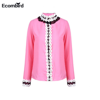 Ecombird 2018 Spring Fashion New Solid Chiffon Women Shirts Pink Petal Long Sleeve Pearl Button Cute