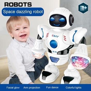 Новый космический ослепляющий музыкальный робот, блестящие Обучающие игрушки, электронный ходячий умный космический робот, Детские музыкальные игрушки-роботы