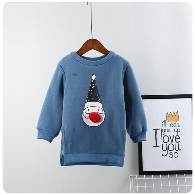 Venda quente do velo das camisolas dos meninos de algodão quente jecket crianças camisola de lã de inverno meninas fleece forrado camisa além de veludo E644