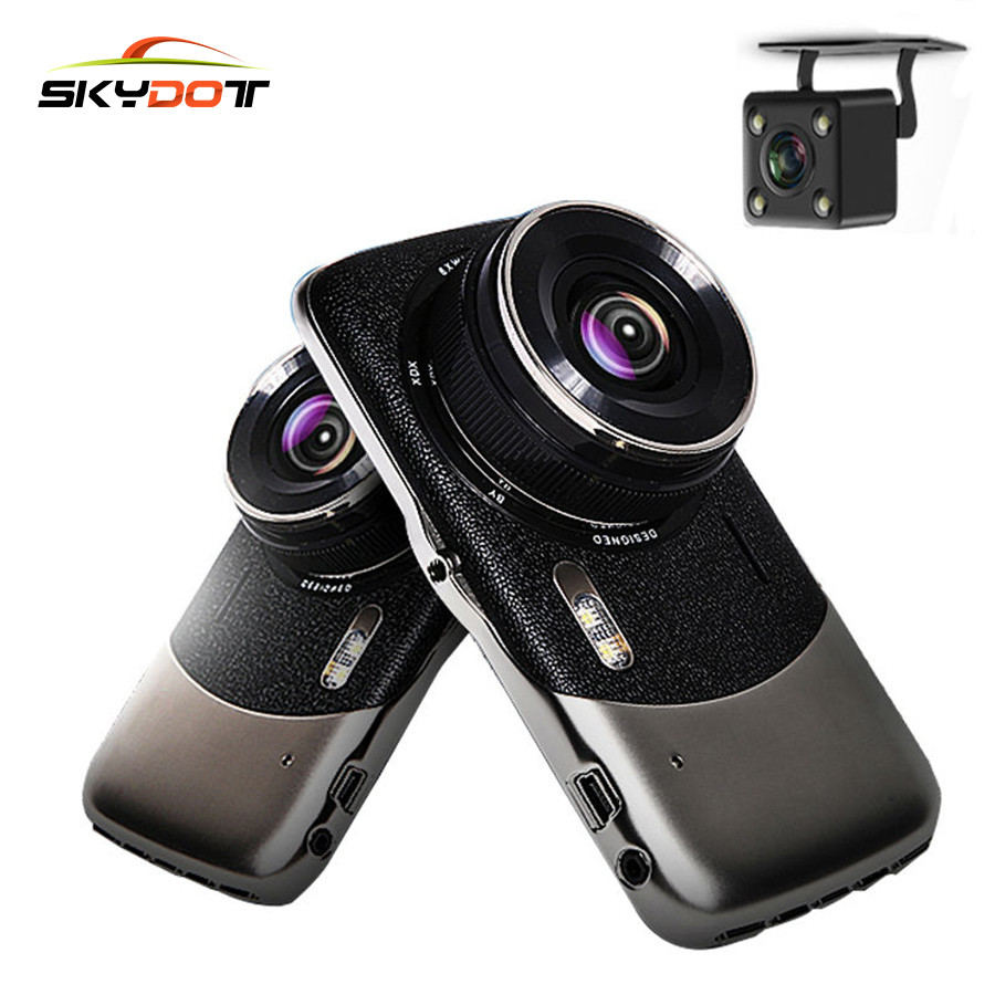 SKydot 4.0 Inch Car DVR Dual Lens With Front And Rear Camera Dash Cam Full HD 1080P Auto Video Recorder Night Vison Black Box 2 7 car dvr dual camera full hd 1080p allwinner car camera recorder front 140 rear 120 degree night vision hdmi g30b