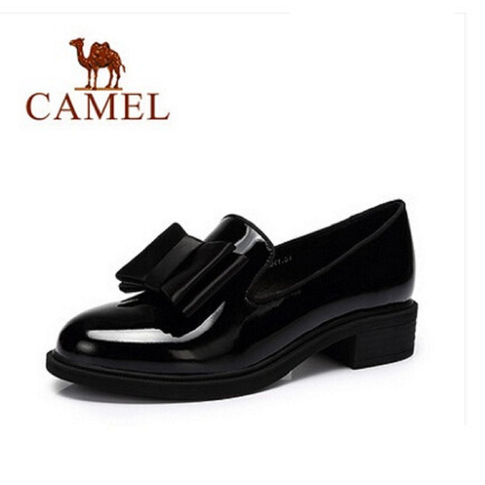Camel 2016 autumn genuine leather womens shoes fashion casual mid-heel square casual bowtie fashion heel pump .