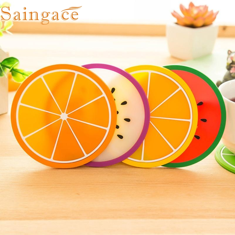 fruit coaster tableware mat colorful silicone cup drinks holder placemat cool tools surface protectors levert dropship - Cool Coasters