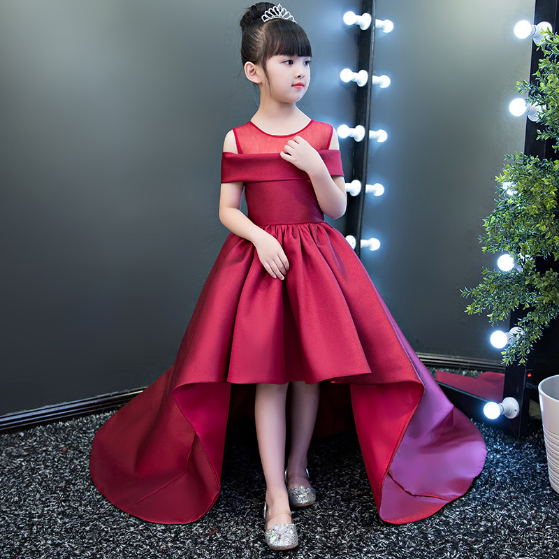 High Quality A-Line Short Sleeves Red Simple Flower Girl Dresses For Wedding Satin Pageant Gowns In Stock Pakaian Gadis Bunga