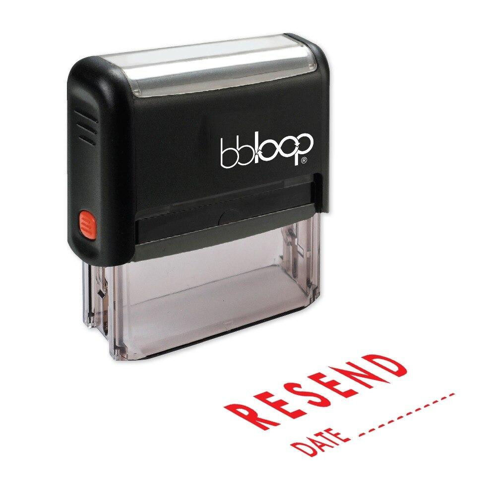 BBloop повторно W/дата линия самоокрашивающегося штамп, прямоугольные. Лазерной гравировкой, красный