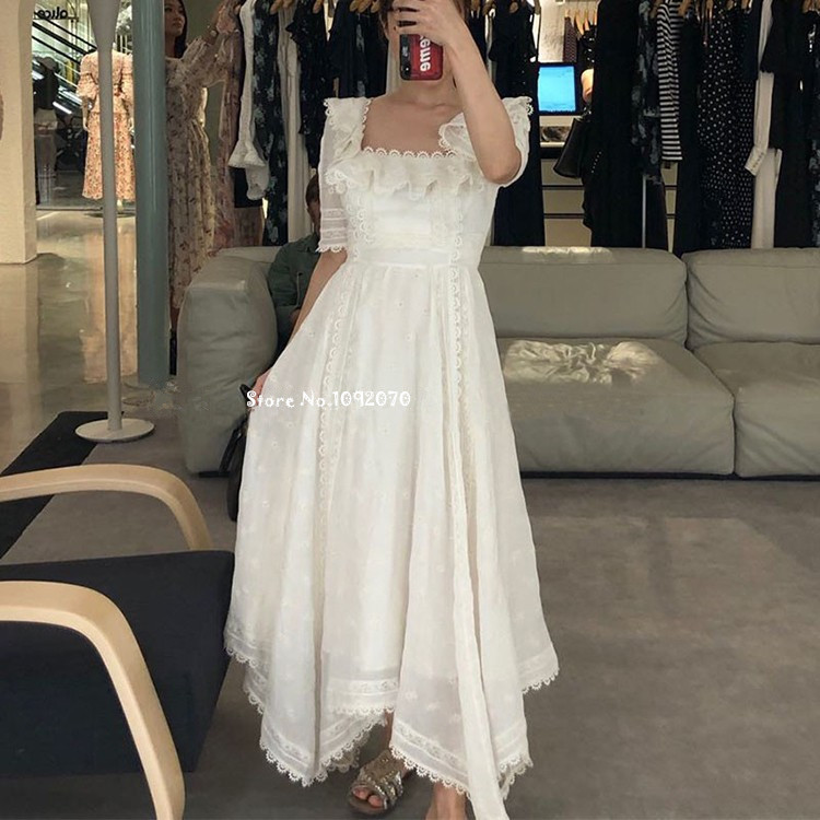 85e0f251f9be Women Lace Trim Radiate Handkerchief Dress Half Length Sleeves Floral  Embroidery Midi Dress With Square Neckline