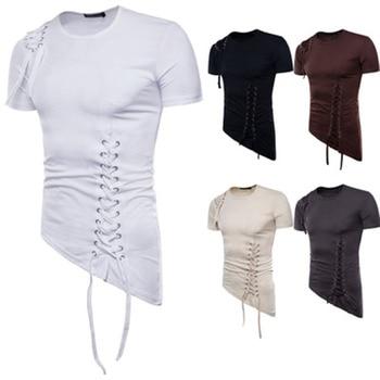 Summer trend high street men's T-shirt solid color slim round neck short sleeve irregular design braided casual sports shirts