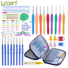 Looen Crochet Hooks Set 17pcs Needles Yarn Knitting With Blue Case Agulhas de Conjunto Sewing Accessory