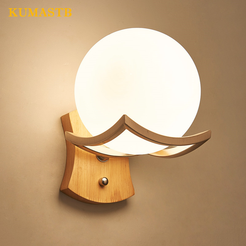 Modern Simple Crative Wood Wall Sconce Living Room Aisle Corridor Hotel Wall Lamps Nordic Bedroom Bedside Glass Ball Wall Light