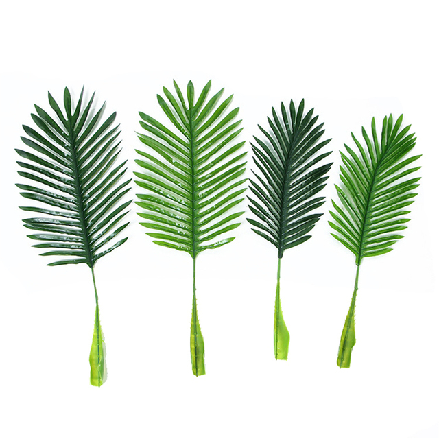 1Pc Artificial fake Plastic Coconut tree Leaves green plant Fake Palm Tree Leaf for flower Arrangement flore wedding decoration