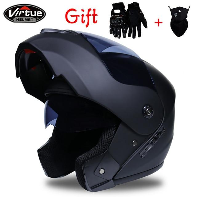 2018 New Flip Up Racing helmet Modular Dual lens Motorcycle Helmet full face Safe helmets Casco capacete casque moto S M L XL