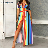 Women Rainbow Color Striped Buttoned Shirt Maxi Dress Casual Short Sleeve Ankle Length Street Wear Summer Dress