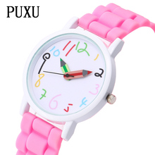 PUXU New Cartoon Barnens Färgrika Pennor Klockor Mode Barn Gummi Quartz Watch Girls Boy Relogio Feminino Dropshipping