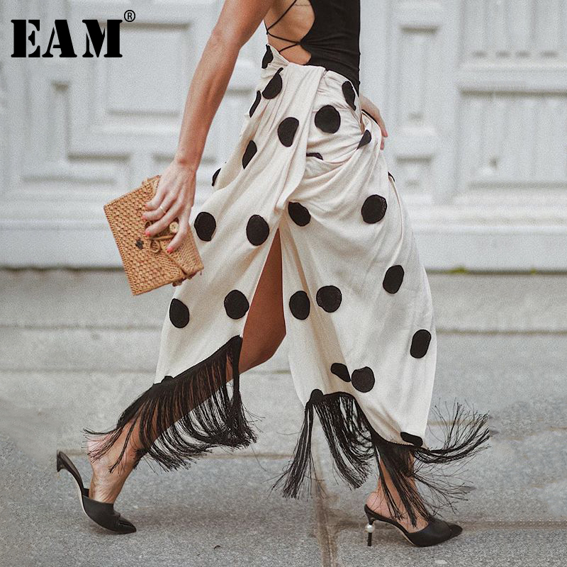 EAM 2019 New Spring Summer High Elastic Waist Black Dot Printed Tassels High Vent Half