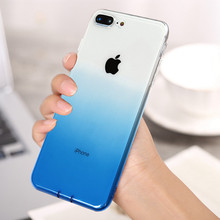 Luxury Gradient Color Transparent Phone Case For iPhone 7 8 6 6S Plus Ultra Thin Clear Soft TPU Silicone Cover 8Plus