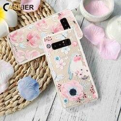 CASEIER Fleurs Téléphone Cas Pour Samsung Galaxy S6 S7 Bord S8 S9 Plus Note 8 Cas Tpu Couverture Pour Galaxy S9 S8 Plus Fondamentale Capa