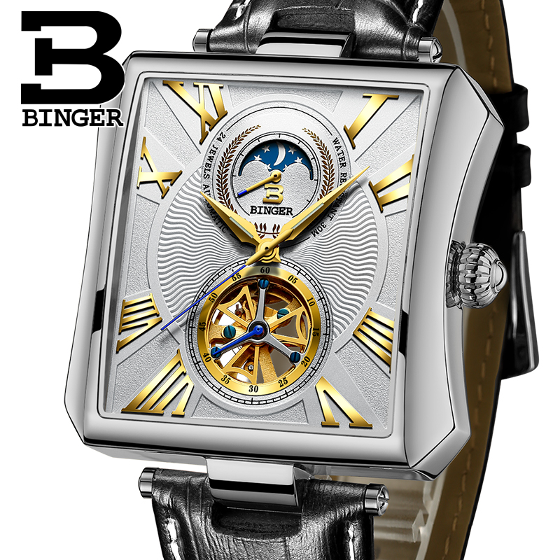 Rectangle Automatic Mechanical Watches BINGER Luxury Business Watch Men Tourbillon skeleton Clock Moon phase relojes hombre relogio masculino tevise luxury brand watch men tourbillon automatic mechanical watches moon phase skeleton wrist watch clock