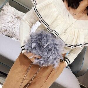 Image 2 - 2018 冬のリアル女性ダチョウ羽ショルダーバッグチェーンバッグ desinger 女性スモールハンドバッグ女性ティーンエイジャークラッチ財布バッグ