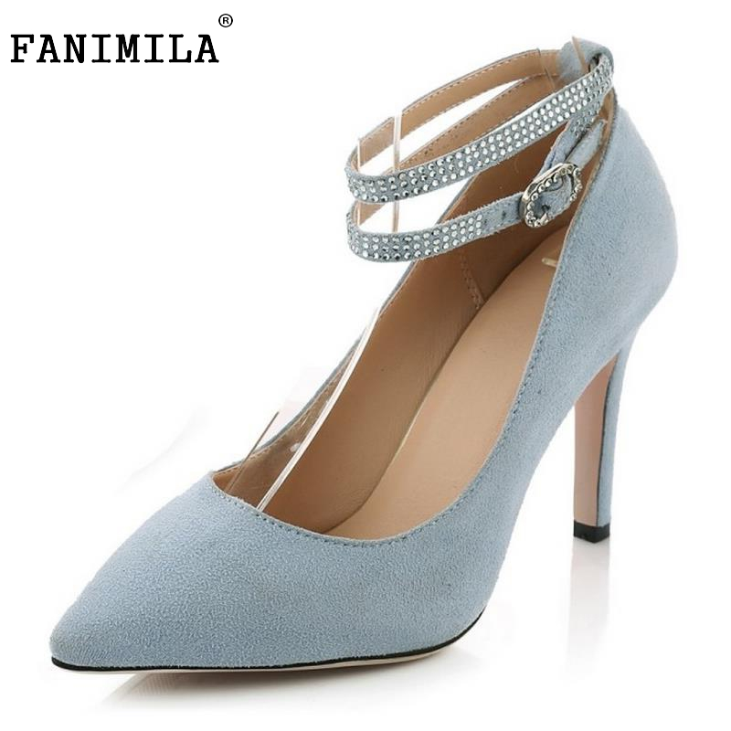 Ladies Real Leather High Heels Shoes Women Ankle Strap Pointed Toe High Heeled Pumps Sexy Wedding Party Footwears Size 34-39 2017 new spring summer shoes for women high heeled wedding pointed toe fashion women s pumps ladies zapatos mujer high heels 9cm