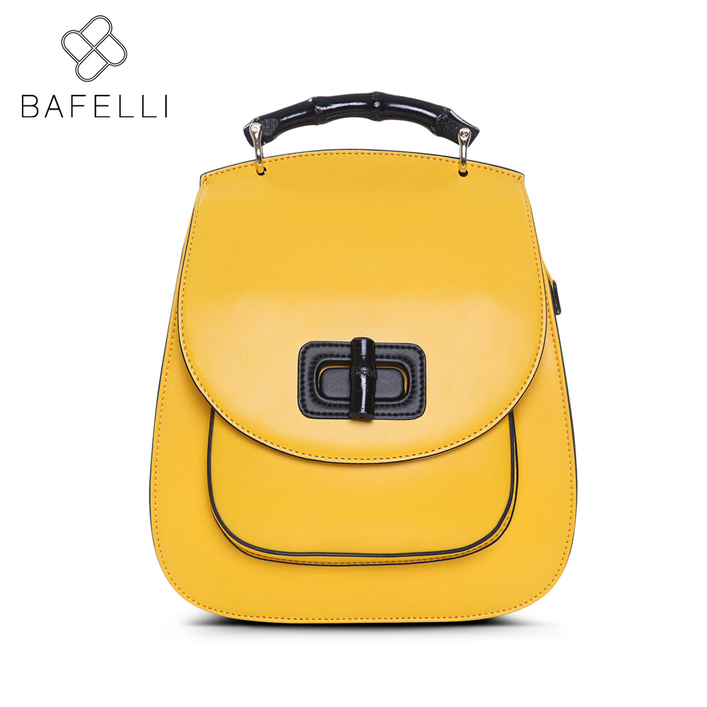 BAFELLI 2017 fashion Lemon yellow softback backpacks solid bag black bolsa feminina for girls backpacks women bag
