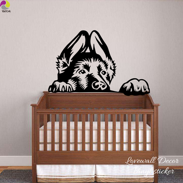 German Shepherd Dog Head Wall Sticker Bedroom Children Room Baby Nursery Pet Animal