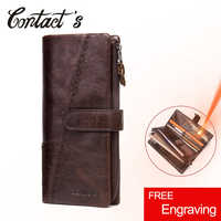 2019 New Men Wallets Genuine Leather Cowhide Long Removable Zipper Coin Purse Vintage Male Phone Clutch Bag With Whipstitch Trim
