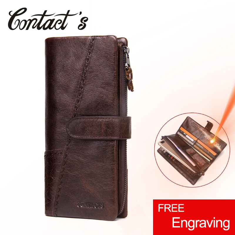2020 New Men Wallets Genuine Leather Cowhide Long Removable Zipper Coin Purse Vintage Male Phone Clutch Bag With Whipstitch Trim