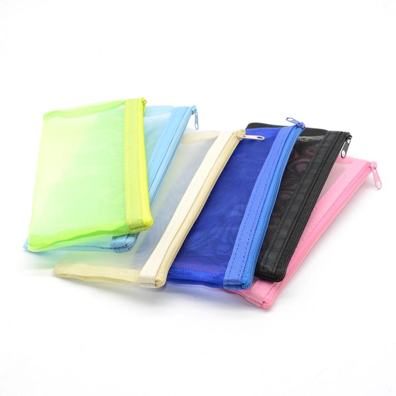 Mesh Pencil Case Estuches Para Lapices Transparente Trousse Scolaire Stylo Fille Estuche Lapices Pennen Etui Solid Escolar Pen