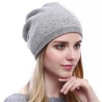 New Arrival Women Cashemere Knitted Hats Lady Warm Rhinestones Headgear Women Fashion Winter Wool Hood Girl