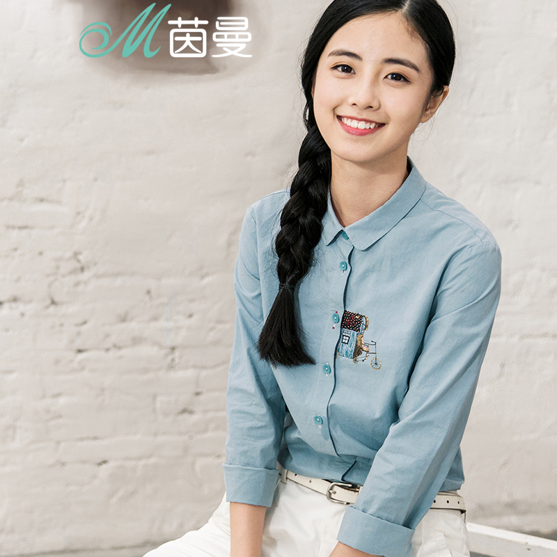 INMAN Women's Autumn  Florals Printing Cotton Shirt Long Sleeves Autumn Tops