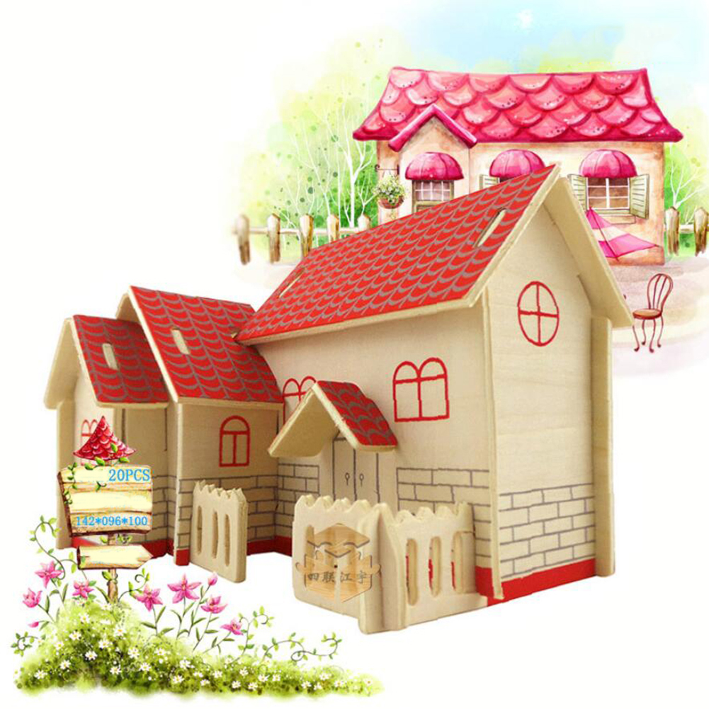 3D DIY Wooden Puzzle Jigsaw Toy Kid Early Learning Construction Toys DIY Wooden Jigsaw Toy Set