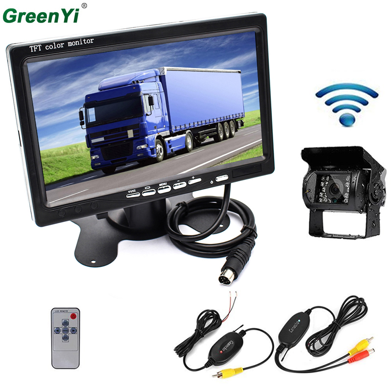 RC 9V-24V Wireless Rear View Backup Camera and 7