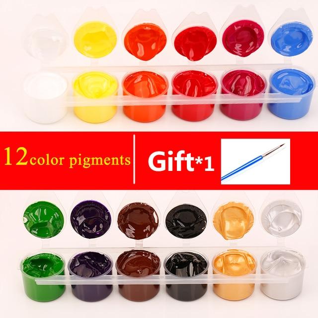 12 Color DIY Nail Pigment Manicure DIY Nail Art Paint Tips Polish ...
