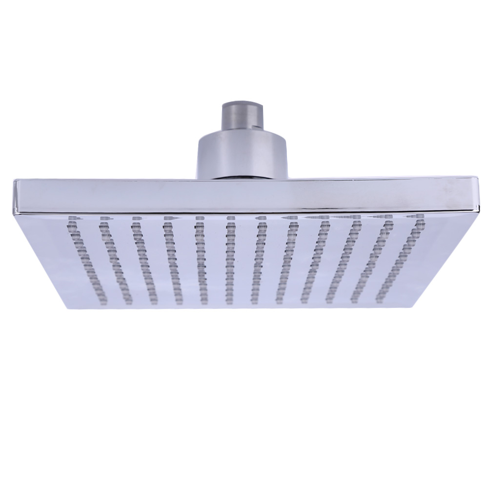 8 inch Square Temperature Sensitive Rainfall LED Shower Head Power from Water Flow 3 Color Change