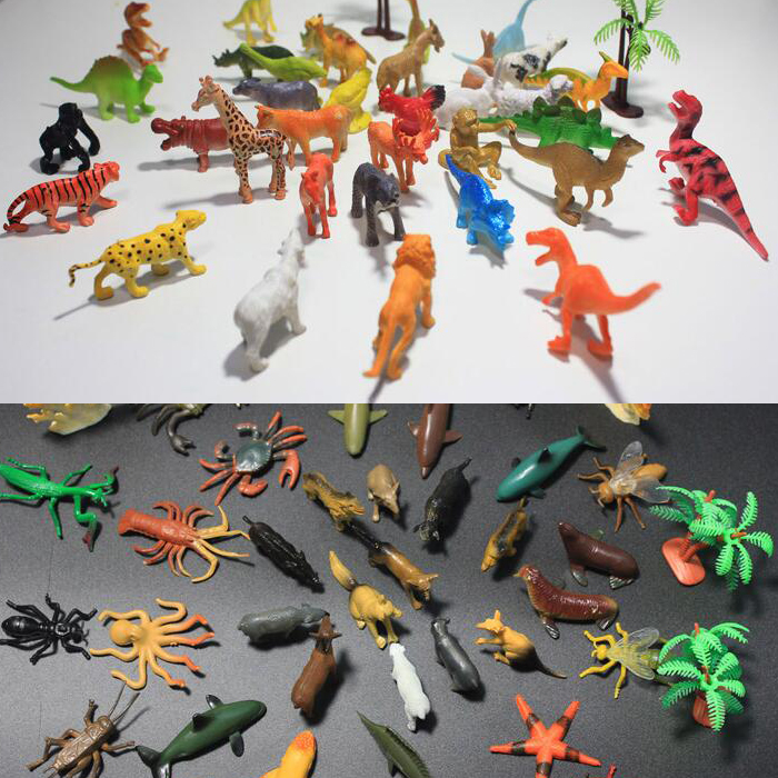 72pcs Mixed lot Mini Animals World Toy Model Sea Land Cretures Insects Dinosaurs Children Education Collection Set Free shipping