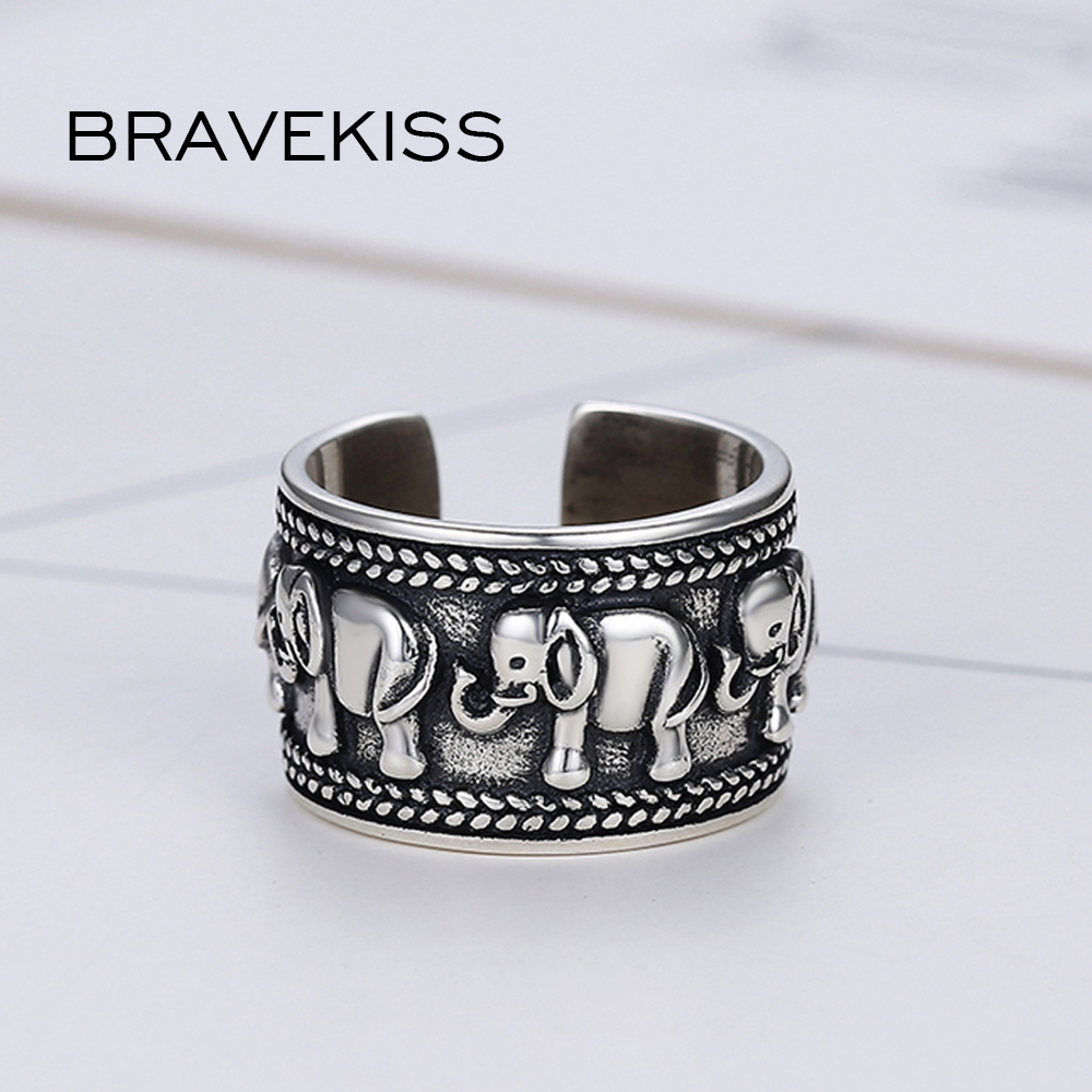 Image 4 - BRAVEKISS  925 Sterling Silver Elephant Ring Animal Antique Open Adjustable Wide Wedding Engraved Ring Jewelry for Woman BLR0309-in Wedding Bands from Jewelry & Accessories