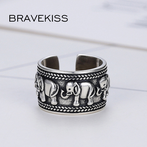 Image 4 - BRAVEKISS 925 Sterling Silver Elephant Ring Animal Antique Open Adjustable Wide Wedding Engraved Ring Jewelry for Woman BLR0309